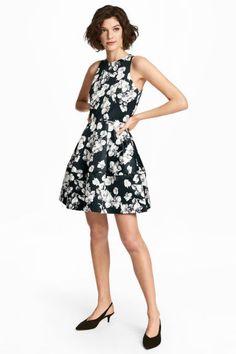 40€ Vestido estampado de satén - Negro floral - MUJER | H&M ES 1
