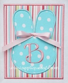 Applique Cafe - Bunny Patch (can change initial or monogram with 3 letters)