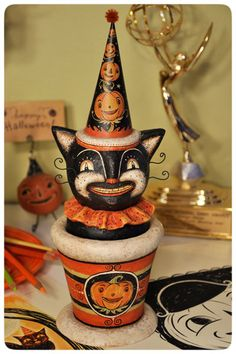 One of a kind Halloween cat candy container by folk artist Johanna Parker