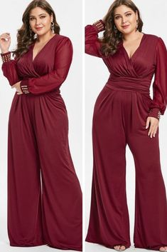 Plus Size Long Sleeves Surplice Jumpsuit with Rivets Jumpsuits for women Red wide legs Jumpsuit Dressy, Plus Size Jumpsuit, Jumpsuit With Sleeves, Jumpsuit Outfit, Red Jumpsuit, Plus Size Wedding Guest Dresses, Plus Size Dresses, Jumpsuits For Women Formal, Looks Plus Size