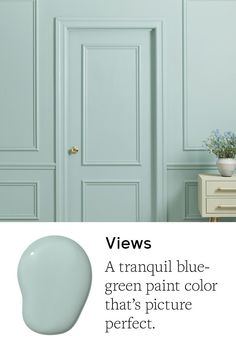 Views is a serene blue-green paint color. This tranquil hue is picture-perfect! It's the best blue-green trim paint color! Shop now. Blue Green Paints, Green Paint Colors, Kitchen Paint Colors, Interior Paint Colors, Paint Colors For Living Room, Paint Colors For Home, House Colors, Coastal Paint Colors, Office Paint Colors