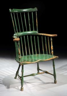 Green-painted comb-back forest chair, circa 1800. (Robert Young)