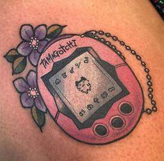 Tamagotchi by Lindsee Boyer @ Bee Ink in Minneapolis MN 90s Tattoos, Cartoon Tattoos, Life Tattoos, Sleeve Tattoos, Cool Tattoos, Tatoos, Theme Tattoo, I Tattoo, Ice Cream Tattoo