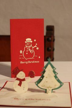 Snow man pop up christmas card