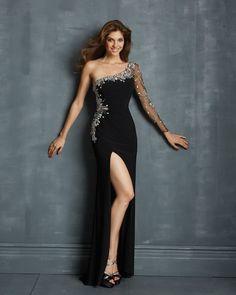 Fabulous Sheath One Shoulder Long Chiffon High Slit Crystal Black Evening Dress with Long Sleeve