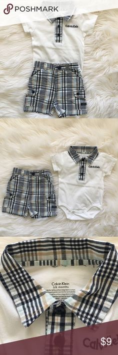 Calvin Klein Baby Boy Outfit Super cute 3-6 month Calvin Klein Baby boy outfit - includes collared onesie and matching shorts.  Great condition - no stains or holes.  Perfect for Spring and Summer!   Only washed with Dreft and Tide Free & Clear.  Smoke free, pet free home. Calvin Klein Matching Sets