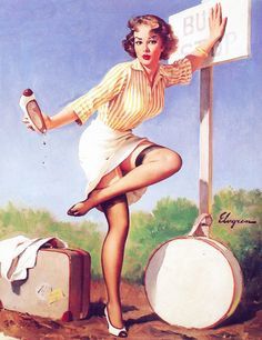 Last Stand (Fare Maiden) - Gil Elvgren 1961 Oooh I have a pebble in my shoe ! www.pinupempireclothing.com
