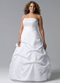 """Made of rich satin fabric that shapes the fitted bodice and drapes beautifully on the voluminous skirt. The clean and sophisticated design creates the look of modern romance.  Includes White sash with beaded detail (beading not shown in photo).  Fully lined. Back zip. Imported polyester. Dry clean only.  Add a splash of color: Select """"Add a Sash"""" below and choose your favorite satin ribbon (Style 3550, 2"""" wide x 150"""" long, ). Colorful satin sash style S400 also available for , Click Here…"""