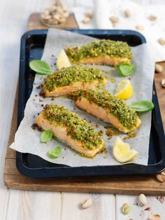 Salmon With A Pistachio And Basil Crust...