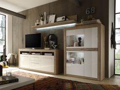 nelson wohnwand ii eiche/weiss matt #living #wohnzimmer ... - Wohnzimmer Eiche Weis