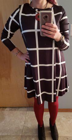 906d52a2e8 SheIn Women s Grid Check Print Long Sleeve Swing Dress at Amazon Women s  Clothing store