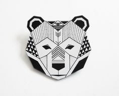 Pins / Badges – Bear head brooch by enna – a unique product by enna on DaWanda