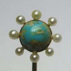 Laura's lifeintheknife on Ruby Lane: Antique Edwardian 14K Gold Turquoise & Seed Pearl Stick Pin