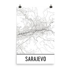 Sarajevo Map, Sarajevo Art, Sarajevo Print, Sarajevo Bosnia Poster, Sarajevo Wall Art, Map of Sarajevo, Sarajevo Gift, Sarajevo Decor, Map Modern Art Styles, Sarajevo Bosnia, Poster Prints, Art Print, Poster Wall, Beautiful Posters, Wall Maps, Us Map, Poster Making