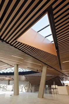Skylights and timber ceiling to top level