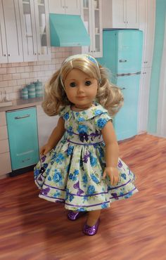 Botanical Butterfly - vintage style dress for American Girl doll