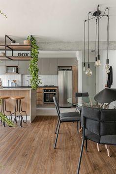 Open Plan Kitchen Living Room, Kitchen Room Design, Home Room Design, Home Decor Kitchen, Home Office Decor, Kitchen Interior, Home Interior Design, House Design, Home Ceiling