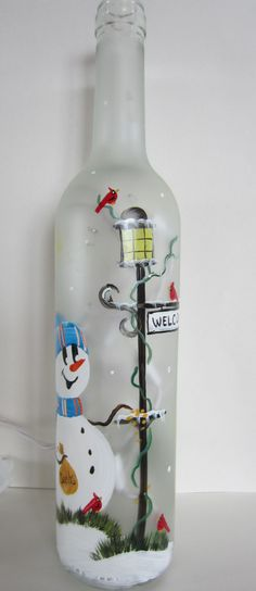 Frosted Lighted Bottle With a Snowman At the by EverythingPainted