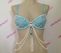 Nixie Sea Goddess inspired bra with pearls and crystals