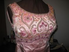 1960's beaded satin gown designed by David E. Rea.  Close-up of the bodice.  Very heavy dress!