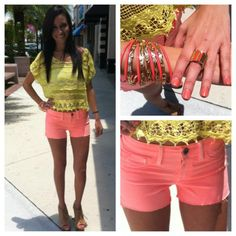Crochet Yellow Top with Peach Shorts and Tangerine Accessories