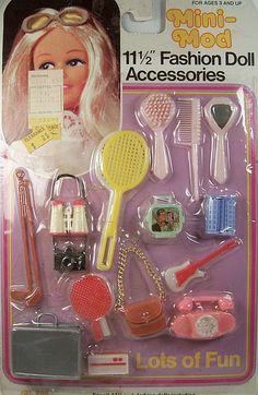 Vintage 1980's Shillman Mini Mod Barbie Clone Accessories