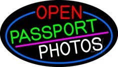 Open Passport Photos Oval With Blue Border Neon Sign