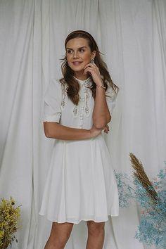 Elegant Lace Dress Off White Lace Dress, White Dress, Short Sleeve Dresses, Dresses With Sleeves, Off White, Dresser, Elegant, Black, Fashion
