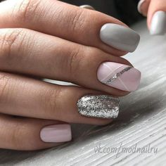 bellissime idee per unghie colorate per Spring Nails 2018 # Spring Nails Source by Gray Nails, Pink Nails, Grey Nail Art, Blue Nail, Grey Nail Polish, Striped Nails, Grey Art, Neutral Nails, Colorful Nail Designs