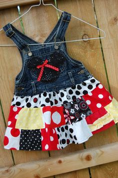 2t upcycled overalls / jumper Mickey / Minnie theme by GCcloset
