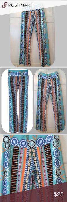 """HP NWT Comfy Blue/Orange Comfy Bootcut Leggings 💙HP 11/9/16! """" Work Week Chic Party """"! I have these and they are definitely a favorite of mine! They are so soft and comfortable! Very versatile! I wear them out and hang out in them! Gorgeous colors too! Chosen by @awolsista please check out her amazing closet! Yahoo!💙🎊💙🎊💙🎊💙🎊🎊🎊 Boutique Pants Leggings"""