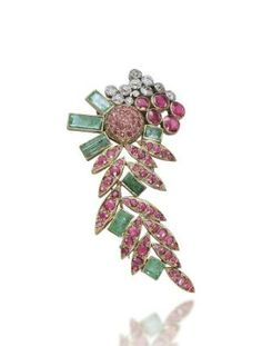 A RUBY, EMERALD AND DIAMOND CLIP BROOCH, BY SUZANNE BELPERRON