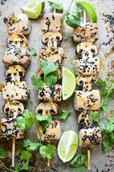 ahi tuna and mushroom skewers for the stove top, oven or the grill!