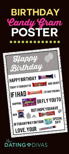 Birthday Candy Gram Poster Happy Birthday Today, Happy Birthday Posters, Birthday Gifts For Husband, Funny Birthday Cards, Boyfriend Birthday, Birthday Presents, Surprise Boyfriend, Husband Gifts, Birthday Quotes