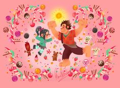 Hi!!! This is my drawing of Ralph and Vanellope from Disney's Wreck it Ralph!!As many of my drawings, this one is based on Rapunzel's wall paintings illustrated by Claire Keane!! I was also inspired by the art of the movie Wreck it Ralph, especially Sugar Rush images!!I really hope you like it!!!