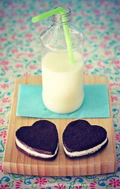Homemade Double Stuf Oreo Cookie Hearts