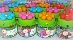 Bugs & flower #polymer #clay jars & lids