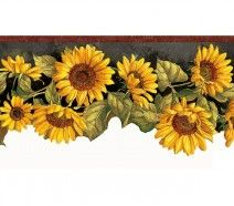 sunflower wallpaper border - Kitchen Wallpaper Borders Ideas