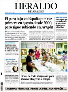 Los Titulares y Portadas de Noticias Destacadas Españolas del 4 de Septiembre de 2013 del Diario Heraldo de Aragón ¿Que le pareció esta Portada de este Diario Español?