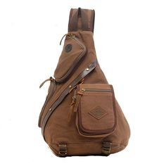 Aibag Unisex Multi-functional Rugged Canvas Leather Single-shoulder Cross Body Chest Pack/Bag