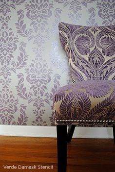Use the Verde Damask Stencil from Cutting Edge Stencils to get this stunning accent wall! http://www.cuttingedgestencils.com/damask-stencil-wallpaper.html  #cuttingedgestencils #stencils #wallstencils