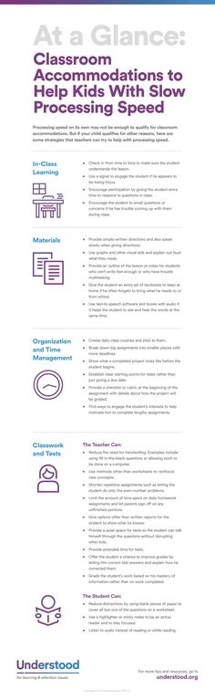 Slow processing speed can impact learning at all stages. Find out how teachers can help your child in the classroom. Get ideas for classroom accommodations.https://www.understood.org/en/school-learning/partnering-with-childs-school/instructional-strategies/at-a-glance-classroom-accommodations-for-slow-processing-speed?cm_ven=ExactTarget&cm_cat=092016_WeeklyENewsletter&cm_pla=All+Subscribers&cm_ite=https://www.understood.org/en/school-learning/partnering-with-childs-school/instructional...