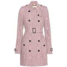 Burberry London Kensington Gabardine Lace Trench Coat ($2,795) ❤ liked on Polyvore featuring outerwear, coats, purple, burberry trenchcoat, pink coat, lace coat, burberry and burberry coat