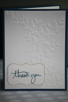 One Handmade Thank You Card Butterflies by strandedpaper on Etsy,