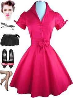 New in stock at Le Bomb Shop! Solid FUCHSIA PINK Tie Sleeve Day Dress! Find it here: http://www.ebay.com/itm/50s-Style-SOLID-FUCHSIA-Tie-Sleeve-Full-Skirt-Rockabilly-PINUP-Day-Dress-w-SASH-/121085126791?pt=US_CSA_WC_Dresses==item61d1a49417