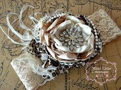 Leopard Print Couture Rosette Flower by MimiLittleBowtique