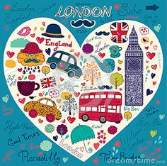 Diseño, textura, patrón con iconos representativos de Londres. London. Fondo azul.