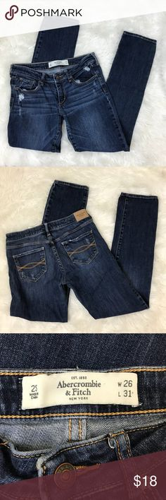 Abercrombie & Fitch 2 S Skinny Slim Distressed Abercrombie & Fitch Women's W 26 x L 31 2 S. The A & F Skinny Slim. Lots of cool destroyed, fading and distressed details all done by manufacturer. 99% Cotton. 1% Elastane. Machine Wash.  Great condition! No stains. Jeans have some distressing/fading and some destroyed holes all from manufacturer. Bottoms of the pant cuffs do have light fading.  Approximate measurements with the jeans laid flat: Waist: 14 Inches. Front Rise: 7.5 Inches. Inseam…