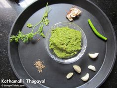 Kothamalli Thogayal or Coriander Thogayal is a very easy and quick thogayal preparation. Thogayal is used as an accompaniment to rice or with Idlis or Dosa