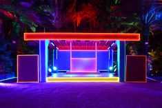 The Prada Double Club Miami by Carsten Höller. Presented by Fondazione Prada Miami, December Photography: Casey Kelbaugh. Club Lighting, Neon Lighting, Lighting Ideas, Outdoor Lighting, Beirut, Stage Design, Event Design, Corporate Design, Miami Beach